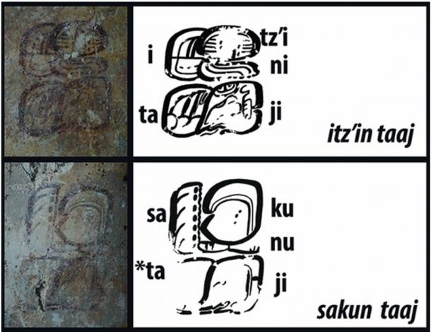Sakun taaj means Senior Obsidian, and itz'in taaj means Junior Obsidian, apparent ranks of the people serving the ruler. These texts are on the walls near the figures.