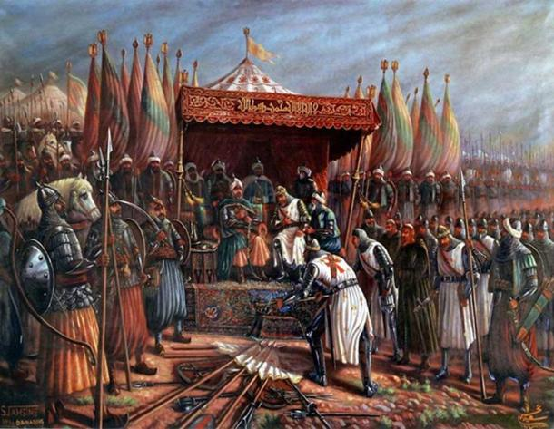 Saladin and Guy de Lusignan after battle of Hattin in 1187. (Public Domain)