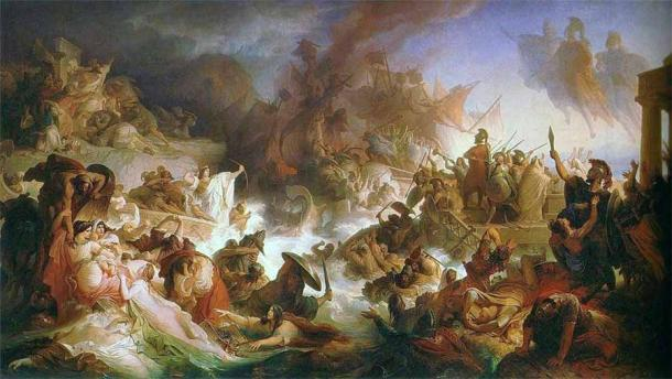 Painting of the Battle of Salamis, with Queen Artemisia seen center left, by Wilhelm von Kaulbach. (Public domain)