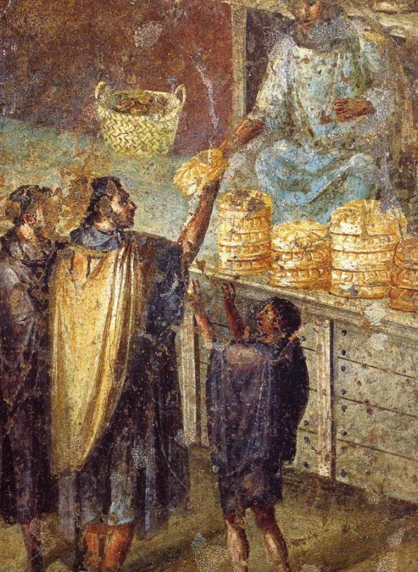 Sale of bread at a market stall. Roman fresco from the Praedia of Julia Felix in Pompeii