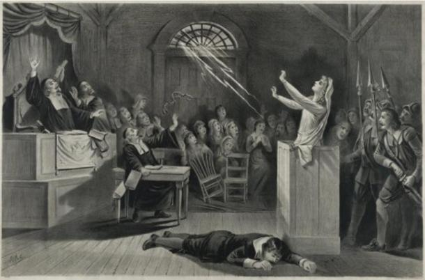 Representation of the Salem witch trials. Lithograph from 1892 by Joseph E. Baker.