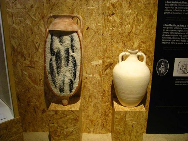 Salt filled amphorae which would have been used in the preservation of fish. Museo do Mar in Vigo, Spain.