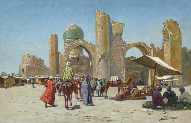 Samarkand, by Richard-Karl Karlovitch Zommer. This was an ancient city on the Silk road positioned between China and the Mediterranean, in modern day Uzbekistan. (Public Domain)