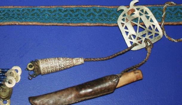 Traditional Sámi beaded belt, knife and antler needle case, Norway