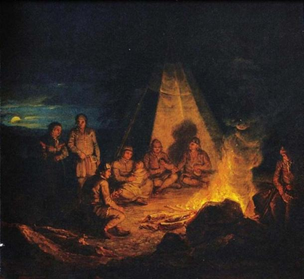 Sámi by the fire by Aleksander Lauréus (1818) Finnish National Gallery. (Public Domain)