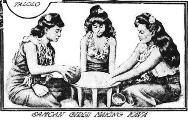 Samoan Girls Making Kava. (University of Hawaii