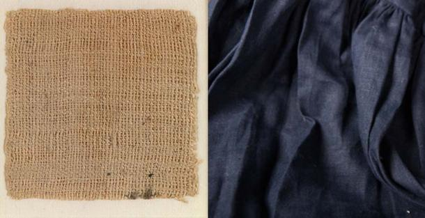 Sample of ancient Egyptian linen from Saqqara, dating to 390-343 BC (Late Period) (CC0) and  piece of modern linen dyed a midnight blue from ArmStreet.