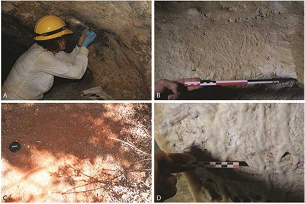 """Sampling A) charcoal from cave paints; B) indigenous paint samples (note the finger marks in this paint """"palette"""", sample 130); C) surface sediments, red ochre from the Vereda del Centro, sample location 998; D) calcite accretions on top of cave art."""