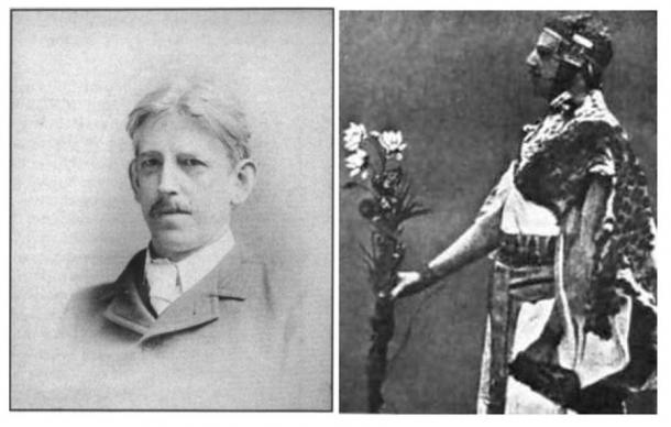 Samuel Liddell MacGregor Mathers (1854-1918) (Public Domain) and Samuel Liddell MacGregor Mathers, in Egyptian getup, performs a ritual in the Hermetic Order of the Golden Dawn. (Public Domain)