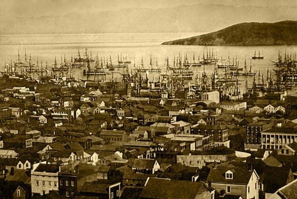 The San Francisco harbor at Yerba Buena Cove in 1850 or 1851.