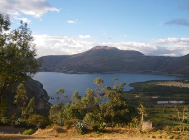 Yahuarcocha Lake from the San Miguel Mirador, Ibarra, Ecuador