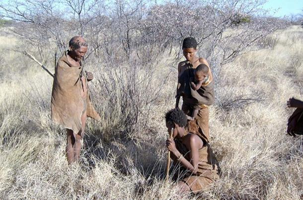 San people family in Ghanzi, Botswana, Southern Africa