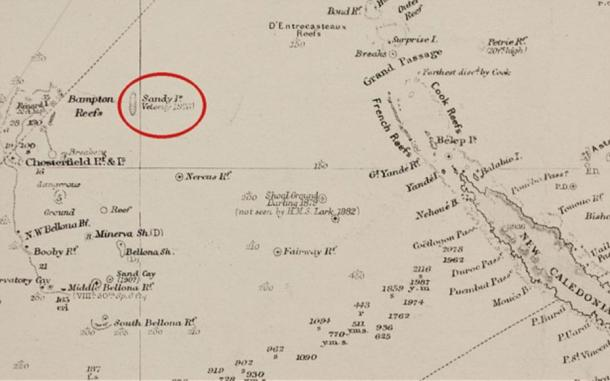 Sandy Island on a British Admiralty chart from 1908