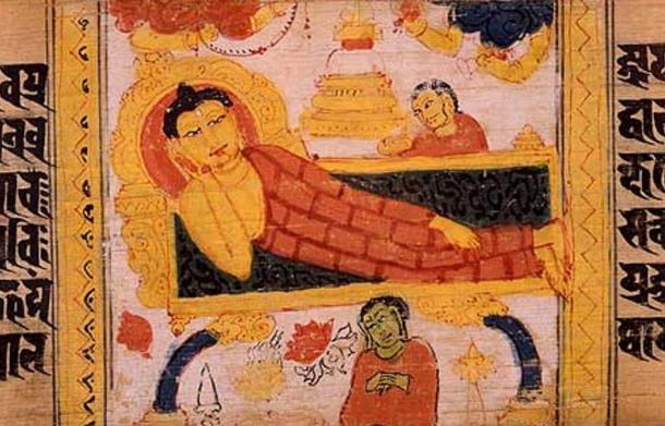 Sanskrit palm leaf manuscript illustrating the Buddha's entry into Parinirvana. Artwork created circa 700-1100 CE.