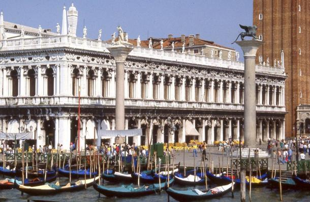 View from the lagoon, Venice, of Sansovino's Libreria which contains the Biblioteca Marciana, and the two columns in the Piazzetta. Photo by: Peter J.StB.Green.