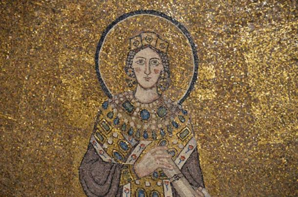Sant'Agnese fuori le Mura, 7th century mosaic detail, St. Agnes.