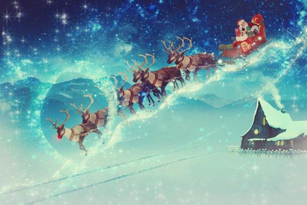 Santa Claus with his flying sleigh and reindeer. (CC0)