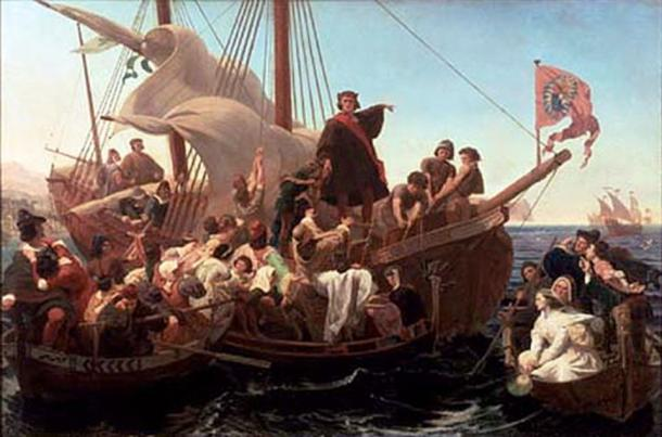 Painting depicting Christopher Columbus on Santa Maria in 1492.
