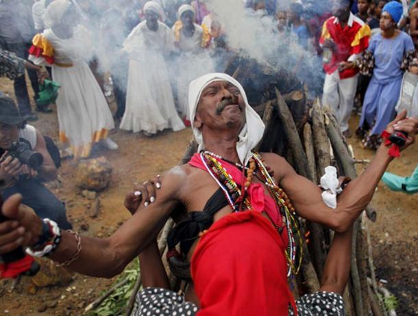 A Santeria ritual.