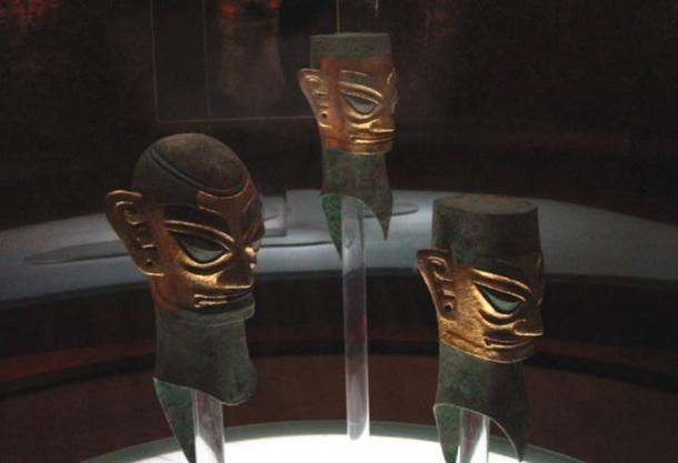 Sanxingdui bronze heads with gold foil masks