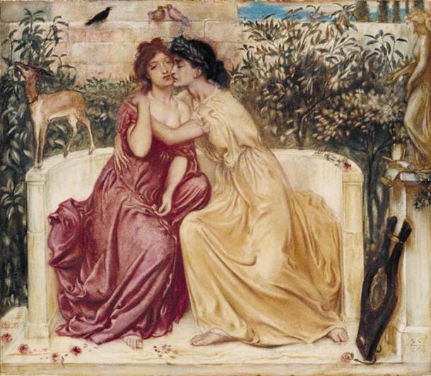 'Sappho and Erinna in a Garden at Mytilene' (1864) by Simeon Solomon. (Public Domain)