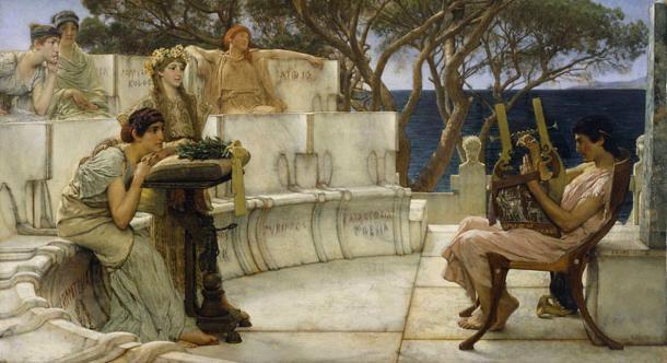 "Sappho (left) and her companions listen rapturously as the poet Alcaeus plays a ""kithara""."