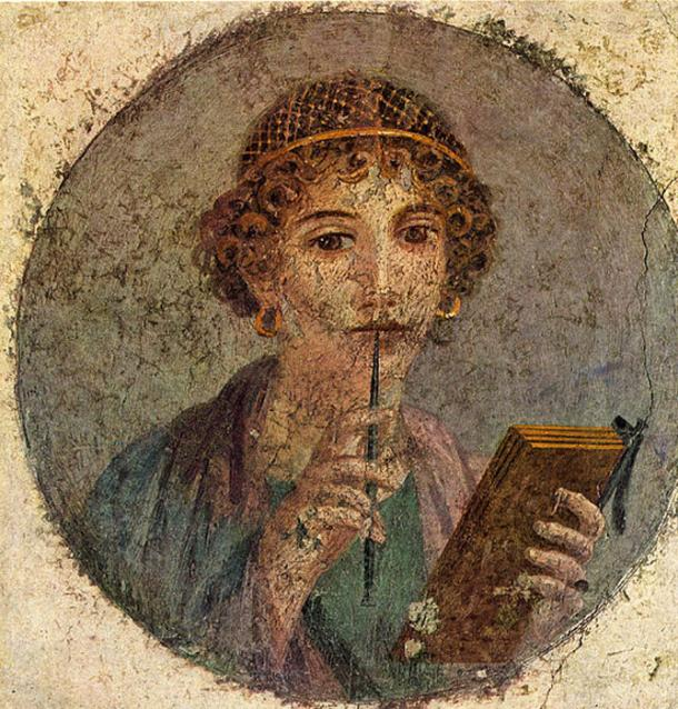 Sappho fresco. National Archaeological Museum of Naples