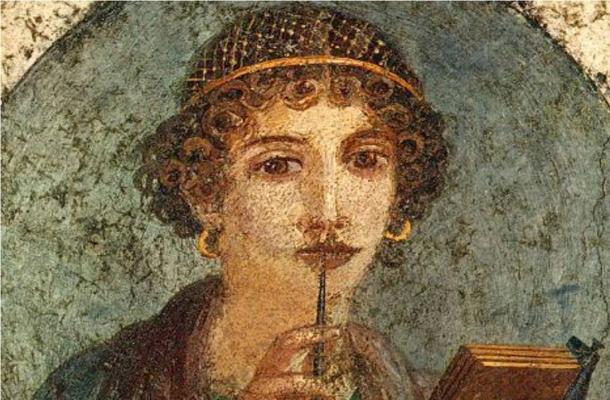"""Detail of a Roman fresco, so-called """"Sappho"""", ca. year 50, fourth style fresco; from Pompeii."""