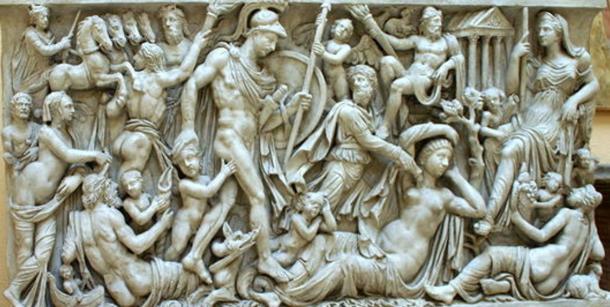 """Cast of the """"Sarcofago Mattei,"""" depicting many parts of the Rhea Silvia myth. (220 AD), Museo della civiltà romana a Roma."""
