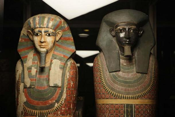 Sarcophagi of the two mummies known as the 'Two Brothers'.