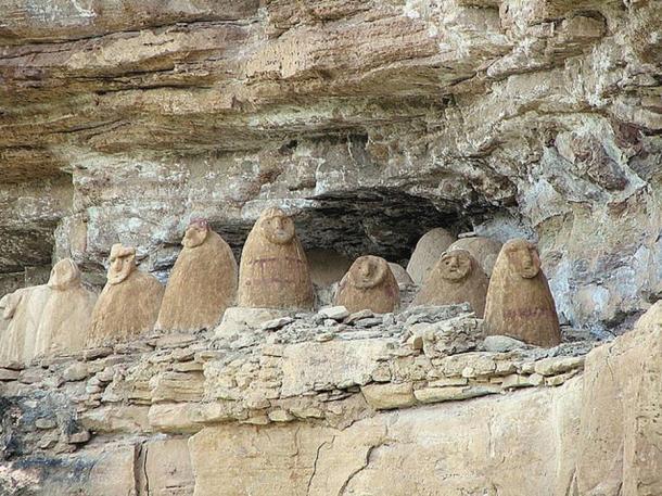 Sarcophagi on a cliff face, Chachapoyas, Amazonas - Peru
