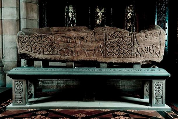 Sarcophagus in Govan Parish Church. It shows a horseman. (The Govan Stones)