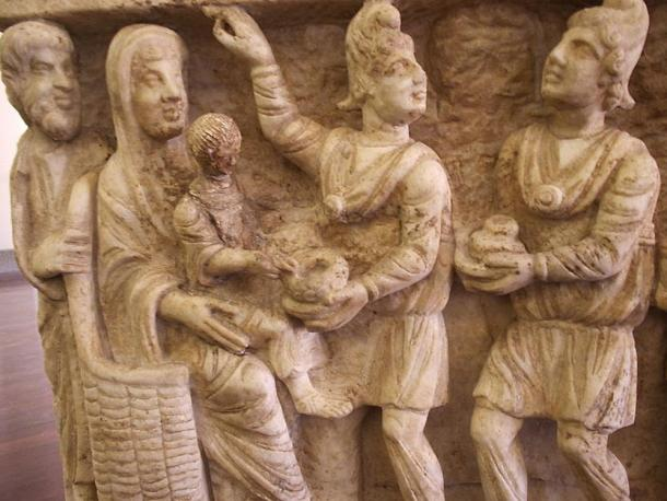3rd Century Sarcophagus depicting two magi bearing gifts. Vatican Museums, Rome, Italy.