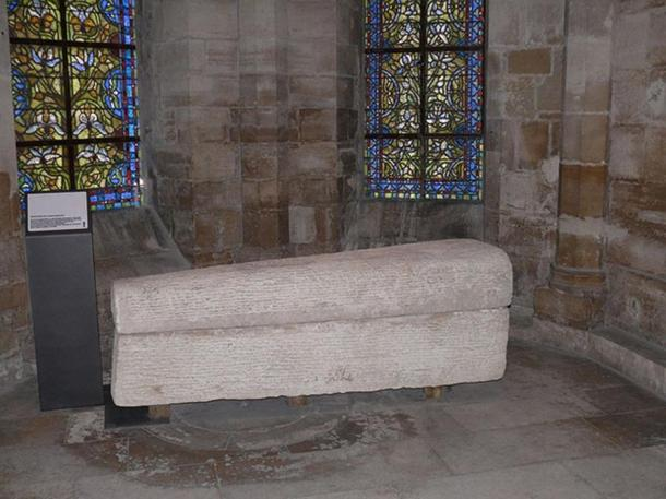 Sarcophagus of Queen Arnegunde, Basilica of St. Denis, Paris, France.