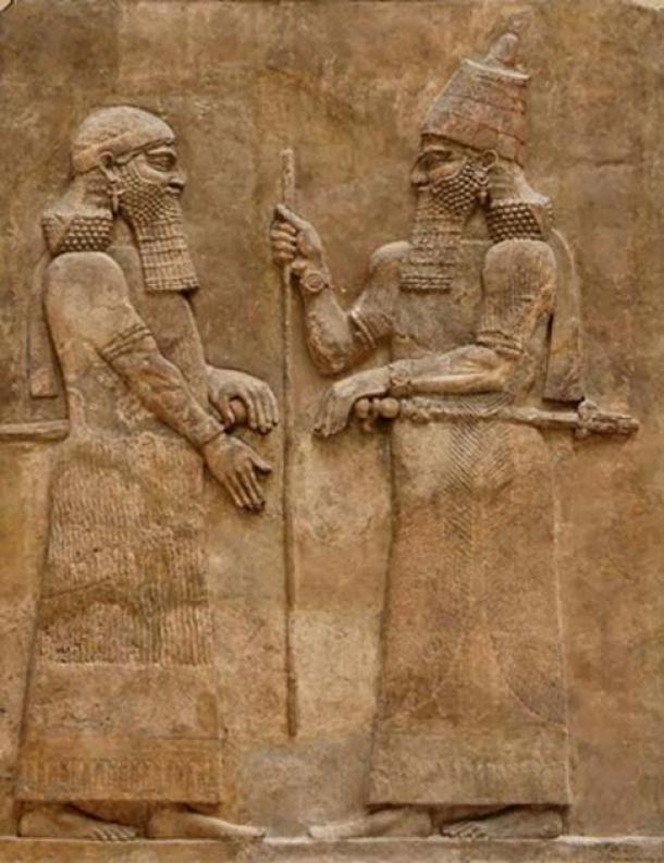 Sargon II [right] and dignitary. Low-relief from the wall of the palace of Sargon II at Dur Sharrukin in Assyria (now Khorsabad in Iraq), c. 716–713 BC