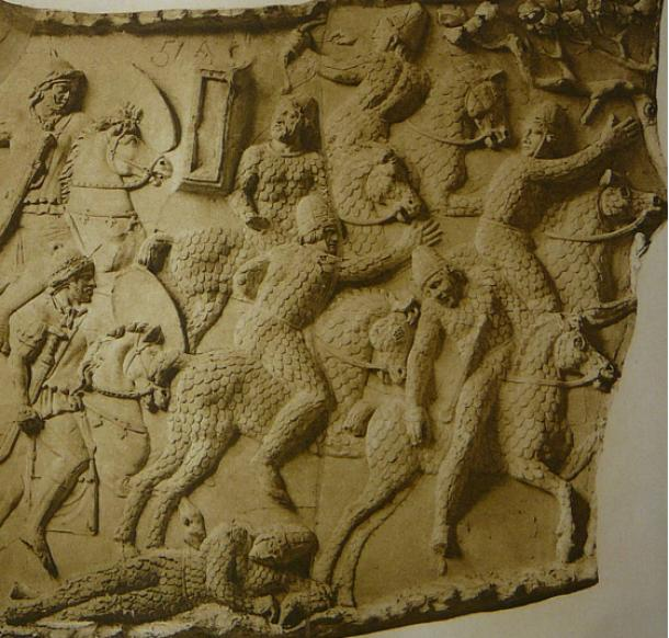 A depiction of Sarmatian cataphracts fleeing from Roman cavalry during the Dacian wars circa 101 AD, at Trajan's Column in Rome (Wikimedia Commons). One man has fallen from his horse, the greatest danger for a cataphract.