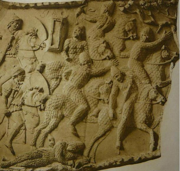 A depiction of Sarmatian cataphracts fleeing from Roman cavalry during the Dacian wars circa 101 AD, at Trajan's Column in Rome