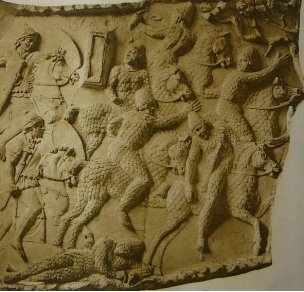 Sarmatian cavalry fleeing from Roman riders, Trajan's Column