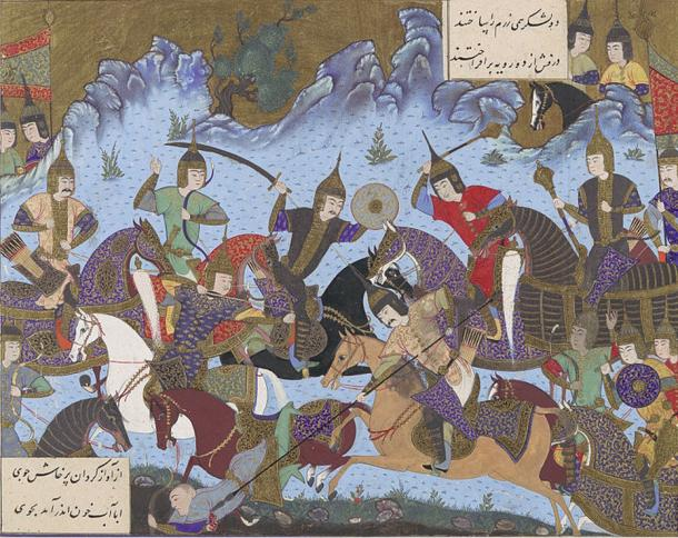 Shahnameh illustration of the Sasanian general Sukhra fighting the Hephthalites (484).