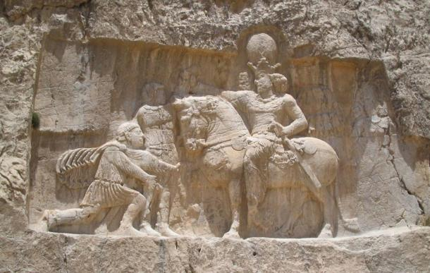 Sasanian relief at Naqsh-e Rustam depicting the triumph of Shapur I over the Roman Emperor Valerian, and Philip the Arab.