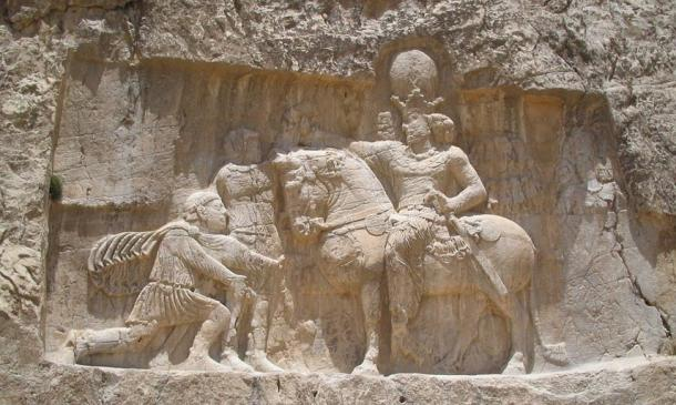 Sassanian carving at Naqsh-e Rostam, Iran, depicting the triumph of Shapur I over the Roman Emperor Valerian