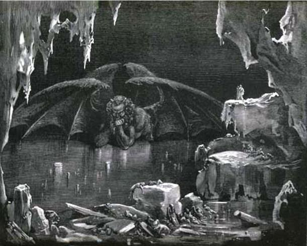 Satan trapped in the ice (1857), Gustave Doré