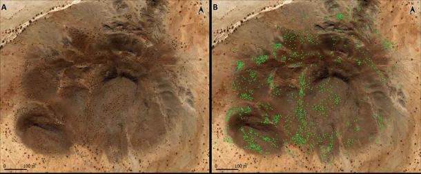 Satellite images depicting 1,195 qubbas or Islamic burials, around and on top of a small rocky mountain.  (Costanzo et al. / PLOS ONE)