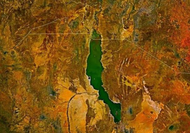 Satellite image of Lake Turkana illustrating its beautiful jade color. Due to amazing fossilised finds, the site is considered the cradle of humankind.