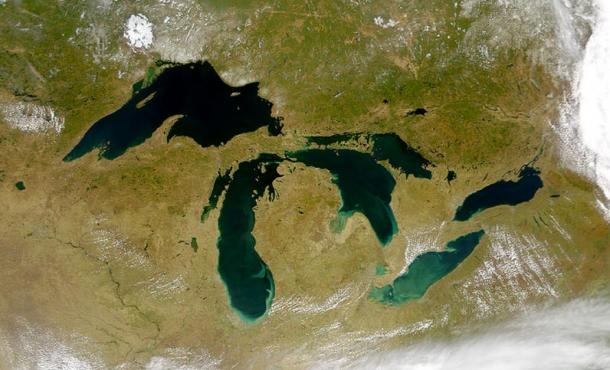 Satellite photo of the Great Lakes