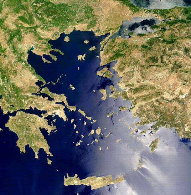 Satellite view of the Aegean Sea.