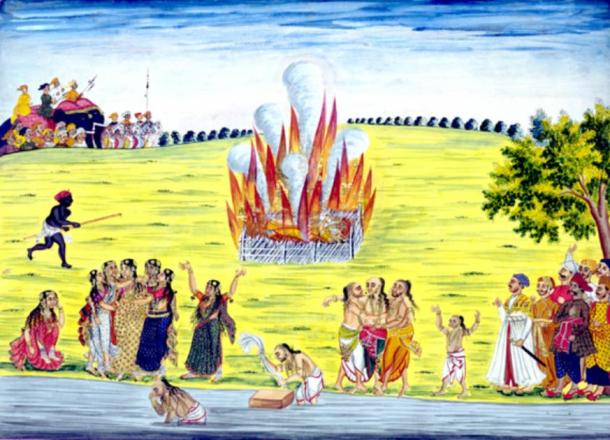 Sati, an old Hindu tradition of a widow immolating herself after her husband's death, usually on her husband's funeral pyre. (Unibond / Public Domain)