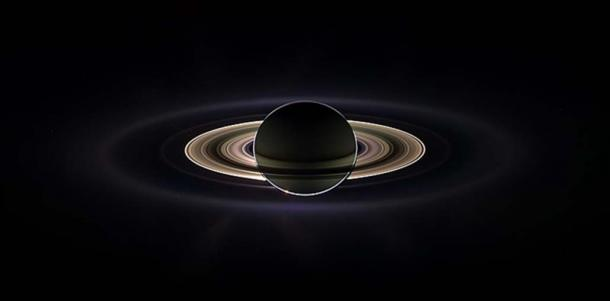 Saturn eclipsing the sun, seen from behind from the Cassini orbiter. The image is a composite assembled from images taken by the Cassini spacecraft on September 15, 2006. (Public Domain)