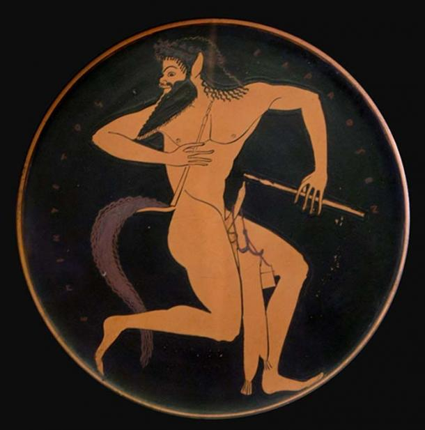 Satyr with pipe and a pipe case