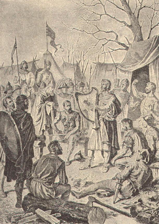 The Saxon king Alfred the Great penetrates the Danish camp disguised as a wandering minstrel, in order to get intelligence